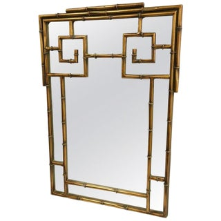 Chinese Chippendale Style Faux Bamboo Mirror For Sale