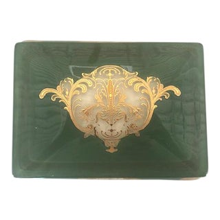 Green Porcelain Box With Gold Detailing For Sale