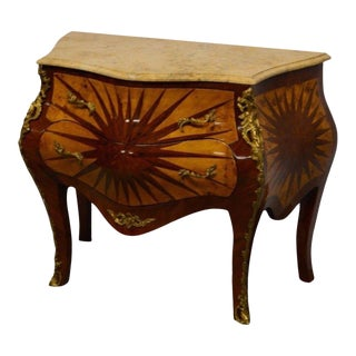 French Style Bombay Inlaid Chest of Drawers Commode