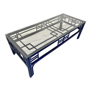 Lacquered Navy Vintage Rattan Fretwork Coffee Table For Sale