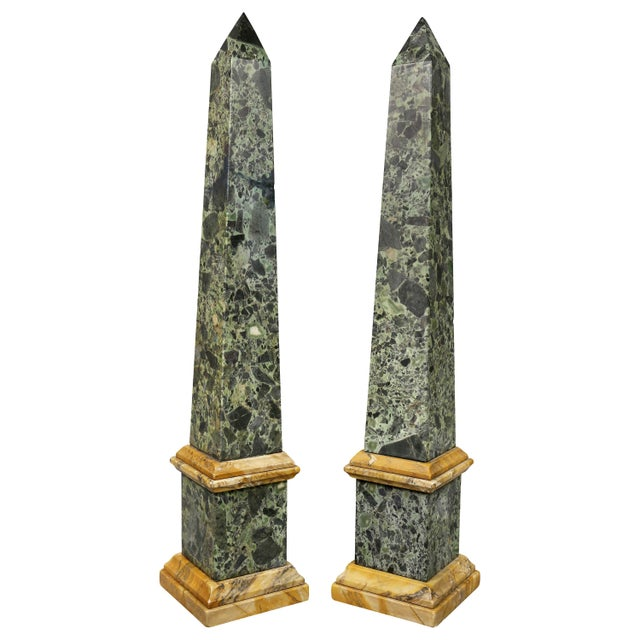 Gray Large Italian Grand Tour Verde Antico and Siena Marble Obelisks - a Pair For Sale - Image 8 of 8
