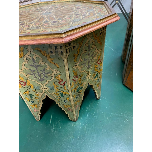 1970s Moorish Octagonal Hand Painted Accent Table For Sale - Image 4 of 9