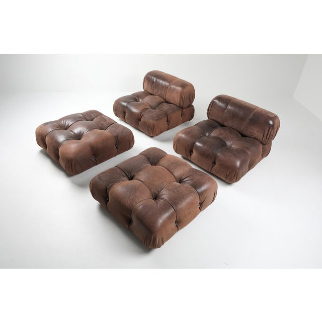 Italian Camaleonda Lounge Chairs in Original Brown Leather by Mario Bellini - 1970s For Sale - Image 3 of 11