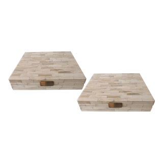 Contemporary Bone Inlaid Decorative Boxes - a Pair For Sale