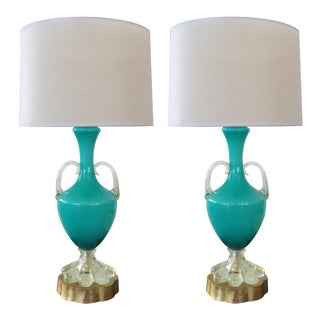 A Good Quality Pair of Italian Murano Mid-Century Teal Cased-Glass Double-Handled Urn-Form Lamps For Sale