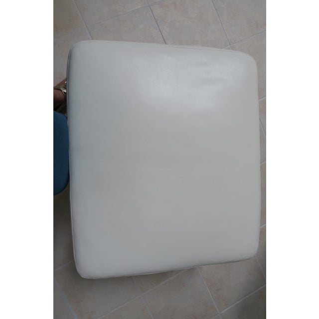 White Art Deco White Leather Chair & Ottoman - 2 Pieces For Sale - Image 8 of 10