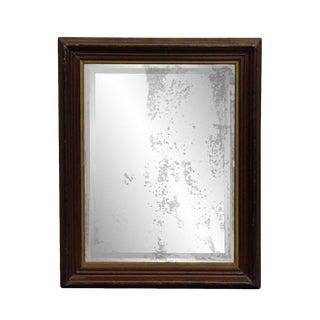 Distressed Dark Framed Wood Mirror For Sale