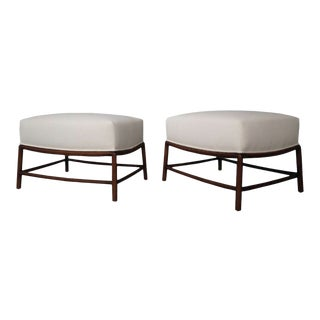 Pair of White Stools by t.h. Robsjohn-Gibbings in Fabric and Wood,Restored 1950s For Sale