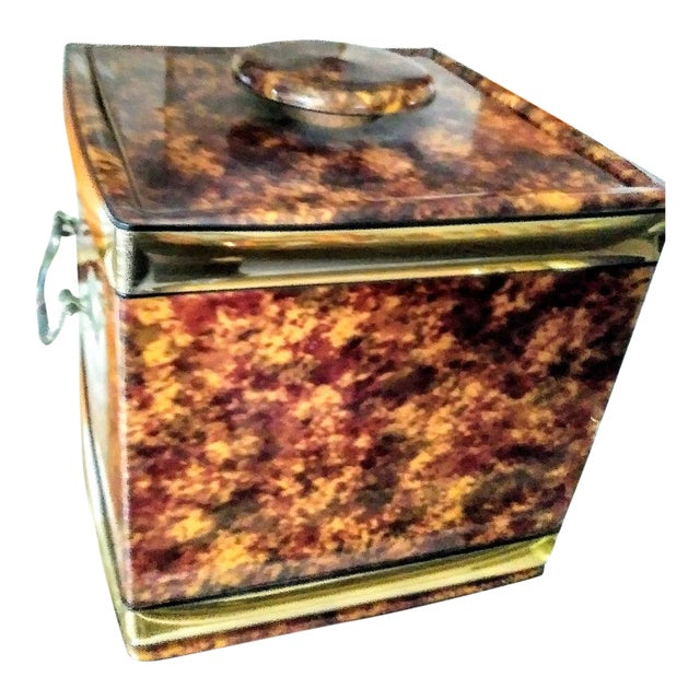 Vintage Kraftware Faux Tortoiseshell Vinyl Square Ice Bucket For Sale