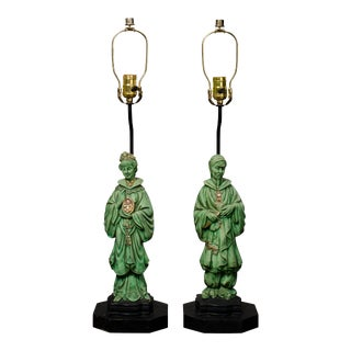 Antique Asian Figurine Table Lamps - A Pair For Sale