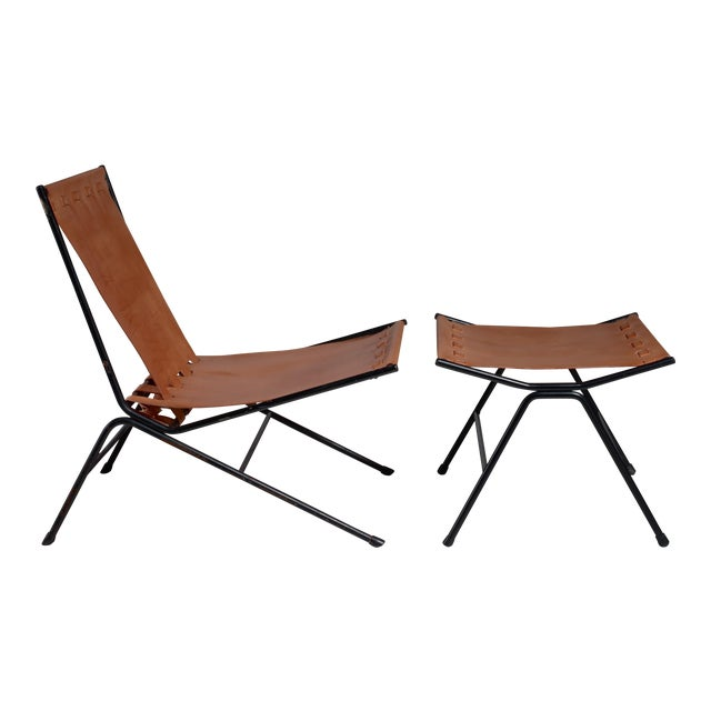 Allan Gould lounge chair with ottoman, USA, 1950s For Sale