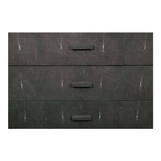 Custom Gray Lacquer Dresser with Genuine Shagreen Draw Fronts For Sale