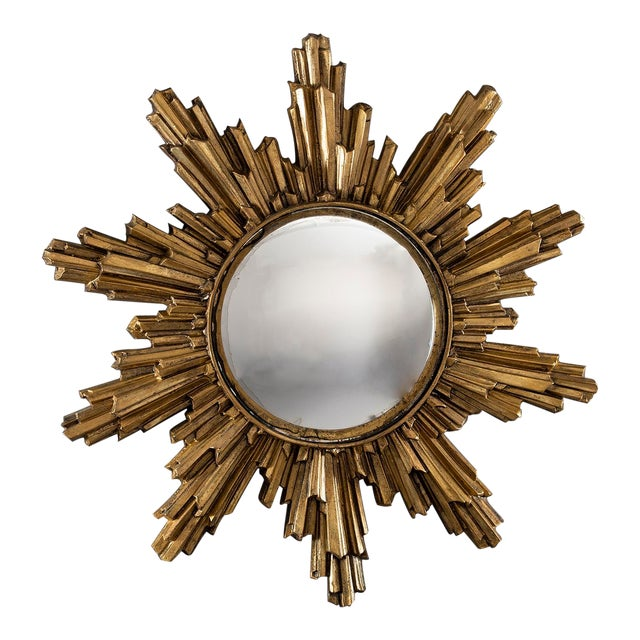 Mid Century Convex Gilded Sunburst Mirror For Sale
