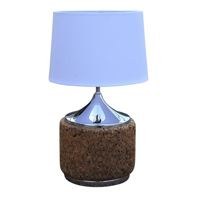1960s Vintage Laurel Mid-Century Modern Cork & Chrome Table Lamp For Sale
