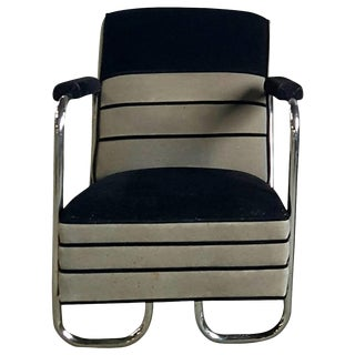 Machine Age Art Deco Two-Tone Mohair and Chrome Lounge Chair For Sale