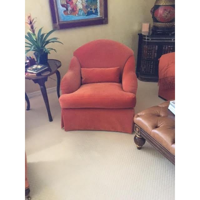 Club Chair in Persimmon Velvet - Image 2 of 3