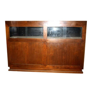 Walnut Showcase With Front Cabinets For Sale