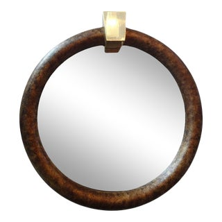 1970's Vintage Karl Springer Inspired Faux Tortoise Shell and Brass Mirror For Sale