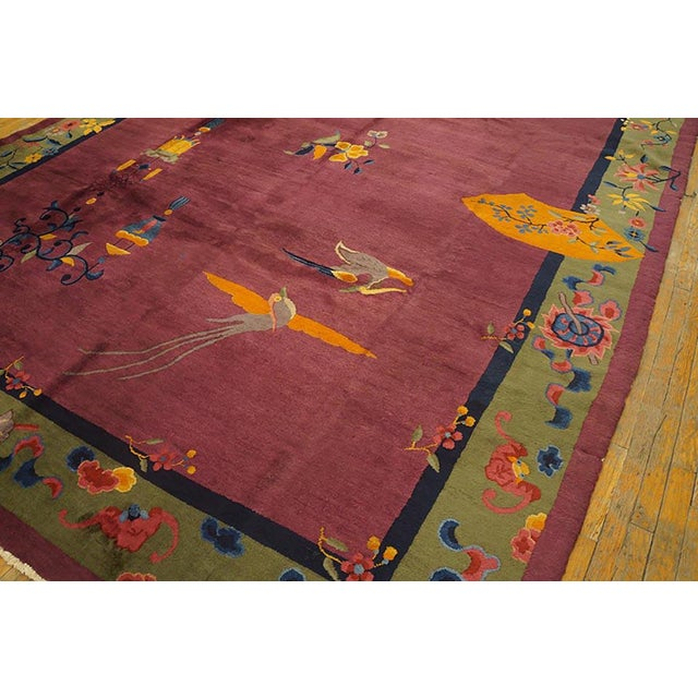 1920s Antique Chinese Art Deco Rug-9′2″ × 11′8″ For Sale - Image 4 of 8