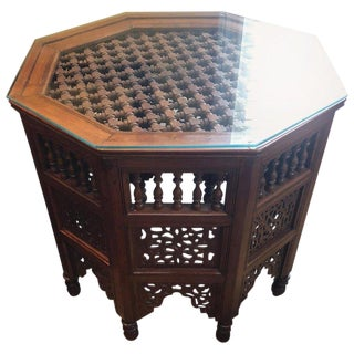 Moroccan Glass Top Carved Wood End/Side Table For Sale