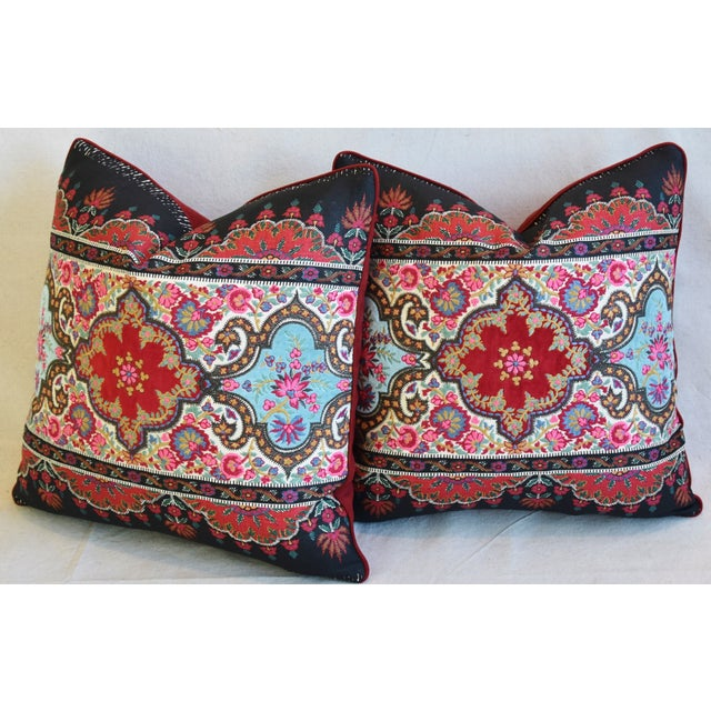 """Feather Pierre Frey French Embroidered Feather/Down Pillows 18"""" Square - Pair For Sale - Image 7 of 13"""