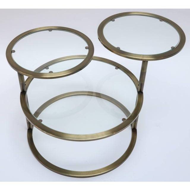 Three Tiered Brass Coffee/Side Table With Adjustable Shelves For Sale In Los Angeles - Image 6 of 8