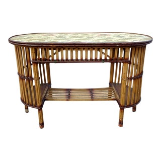 Antique 1900's Stick Wicker Rattan Bamboo Console Table Vanity For Sale