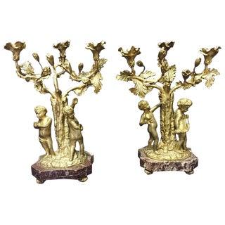 19th Century French Pair of Gilt Bronze and Marble Candelabra For Sale