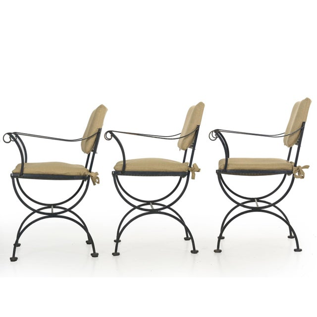 Set of Six Salterini Style Black Iron Patio Dining Chairs, Mid 20th Century For Sale - Image 9 of 13