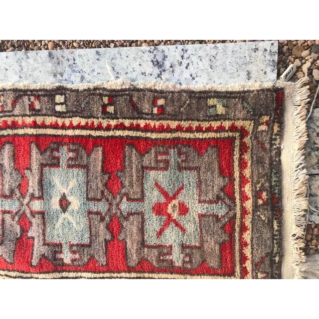 "Hand Made Vintage Tribal Turkish Runner Rug Mat 1'8""x2'9"" For Sale - Image 6 of 8"