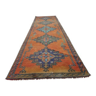 "Distressed Orange Oushak Runner Rug Faded Colors Low Pile Hallway Decor 3' X 10'3"" For Sale"