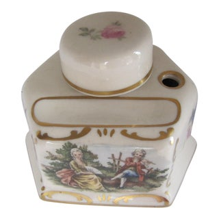 Antique Hand-Painted Porcelain Ink Well For Sale