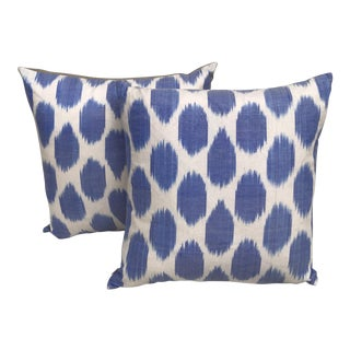 Silk Polka Dot Turkish Ikat Pillows, Pair For Sale