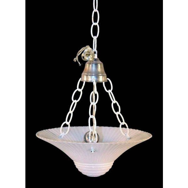 White scalloped milk glass dish hanging pendant light with white chain. Height is adjustable.