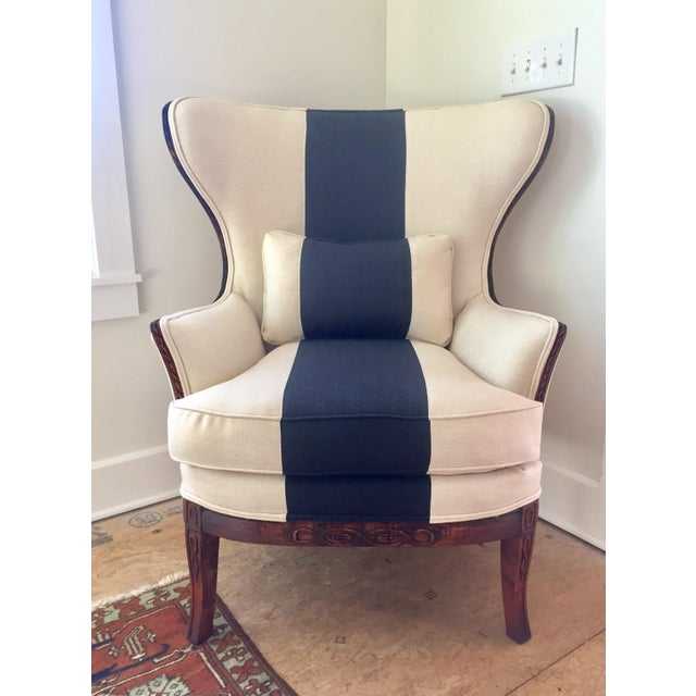 Navy Striped Half Wingback Chair: Fanback Chair With Navy Stripe
