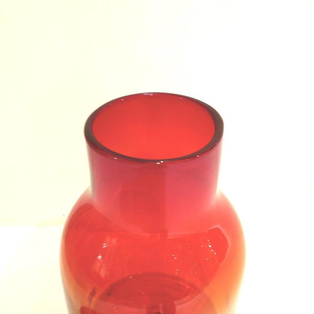 1960s Large Ombre Blown Blenko Orange Decanter With Lid by John Nickerson For Sale - Image 5 of 9