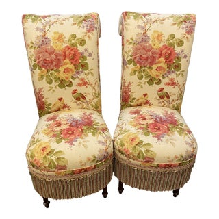 Vintage Floral Parsons Chairs - a Pair For Sale