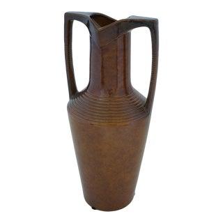 Vintage Art Deco 1920s Egyptian Revival Handled Jug Urn Vase Glazed Ceramic For Sale