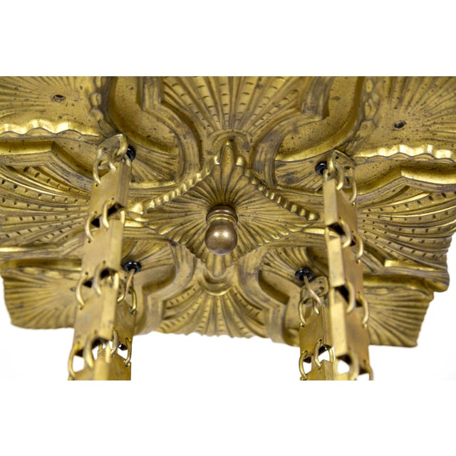 Art Nouveau Vienna Secession Nouveau Brass Chandelier W/ Square Chain & Foliage For Sale - Image 3 of 13