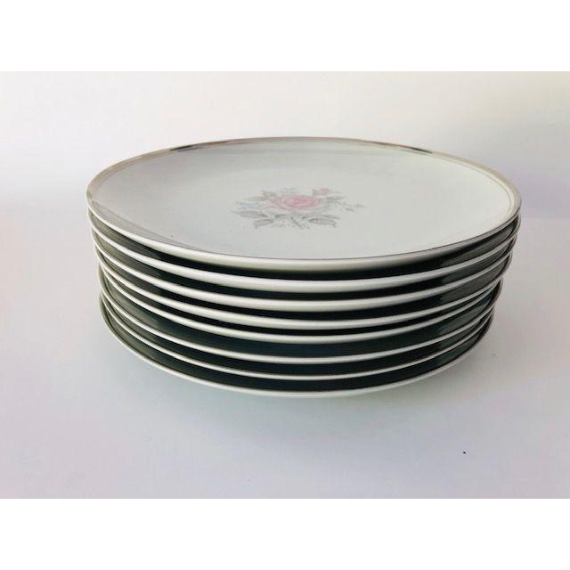"""Vintage Set of 8 Rose Design with silver trim Dinner Plates 10""""D ,maker mark reads Empress China Japan """"Rosetta"""" 1961 ,..."""