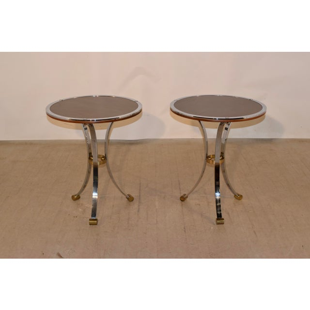 Mid-Century Modern Mid-Century Mahogany and Chrome Side Tables - a Pair For Sale - Image 3 of 12