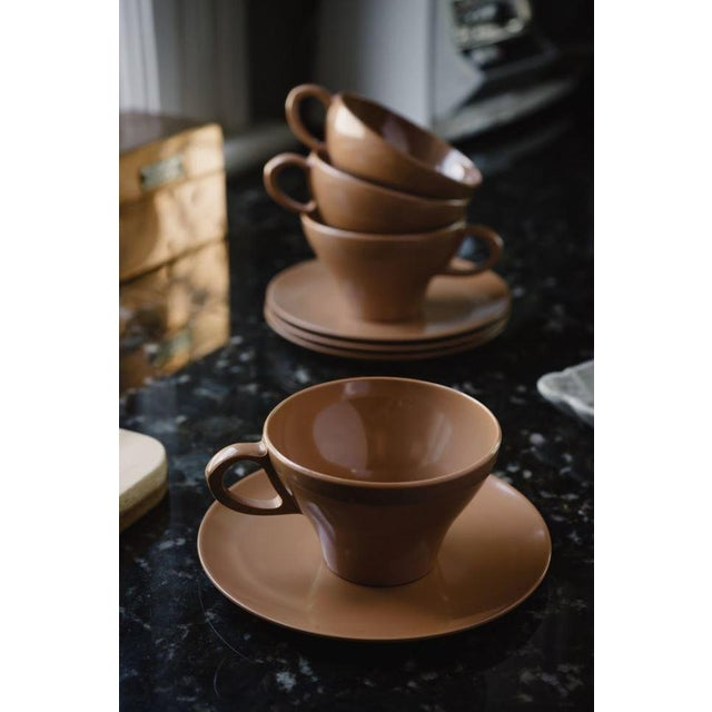 Mid-Century Modern Brown Melamine Cups and Saucers - Set of 4 For Sale - Image 3 of 8