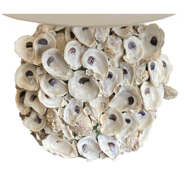 Oyster Shell Lamps with Custom Shades - a Pair For Sale In Dallas - Image 6 of 7