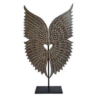 Wood Angel Wings on Stand For Sale