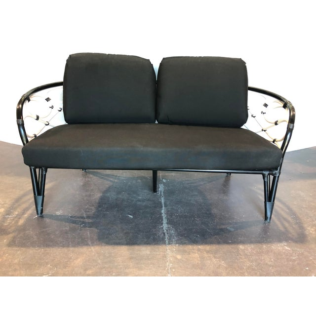 Canvas David Francis Outdoor Black and White Loveseat For Sale - Image 7 of 7