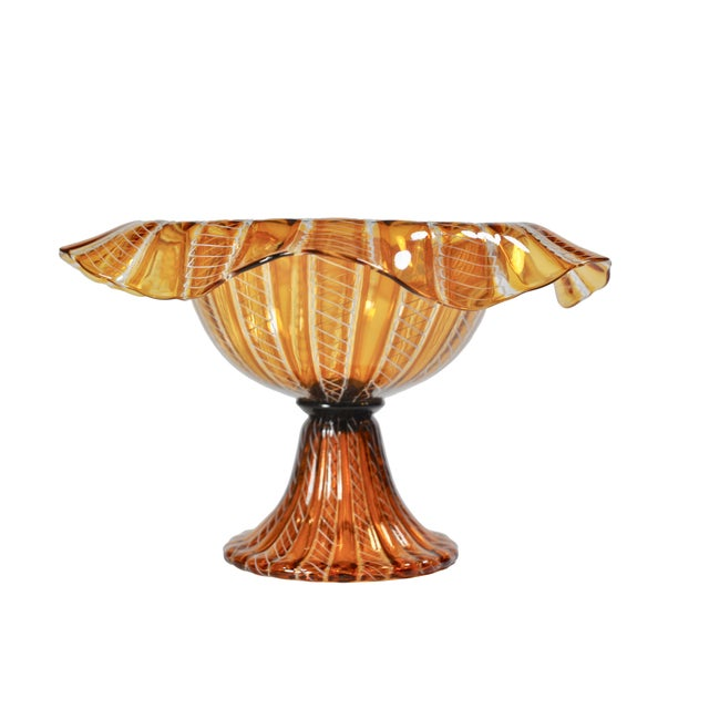 Vintage Salviati Attributed Murano Glass Compote For Sale - Image 5 of 5
