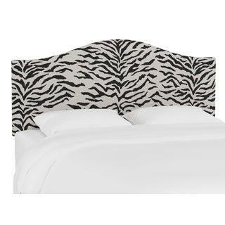 Queen Headboard, Linen Zebra Cream Black For Sale