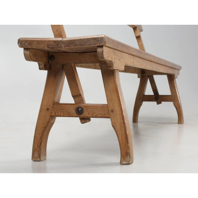 Antique Country Pine Bench With Adjustable Back For Sale - Image 12 of 13