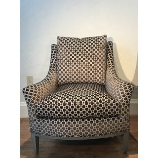 Modern Theodore Alexander Riley Splayed Arm Upholstered Lounge Chairs- A Pair Preview