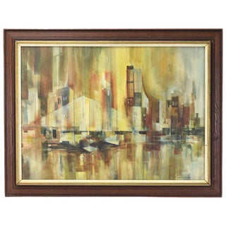 Vintage Mid-Century Modern Les Fredericks Abstract Manhattan Cityscape Painting For Sale
